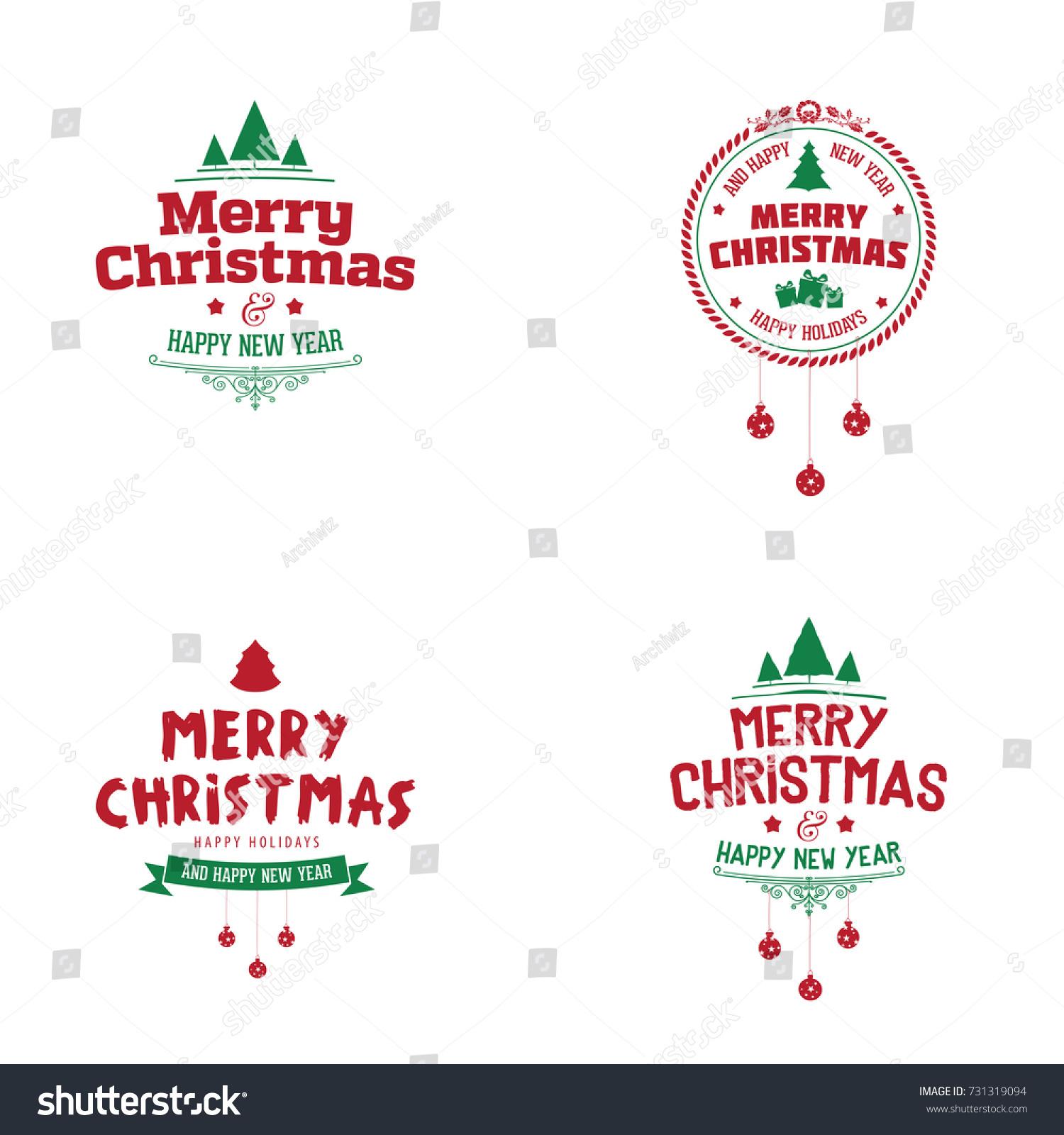 Christmas Label Design Vector Merry Stock 731319094