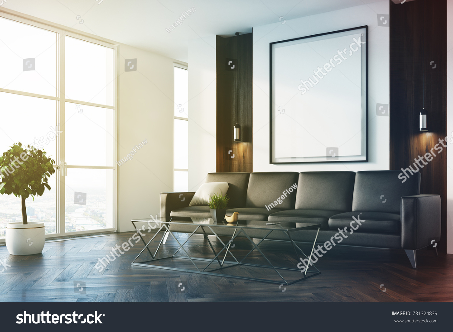 Upscale Living Room Interior White Wooden Stock Illustration ...