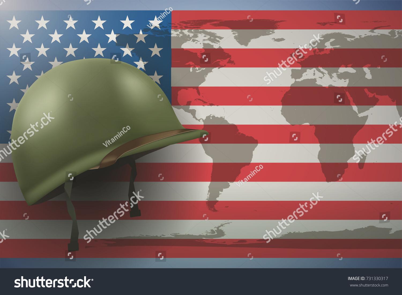 Military Helmet On Background American Flag Stock Vector 731330317