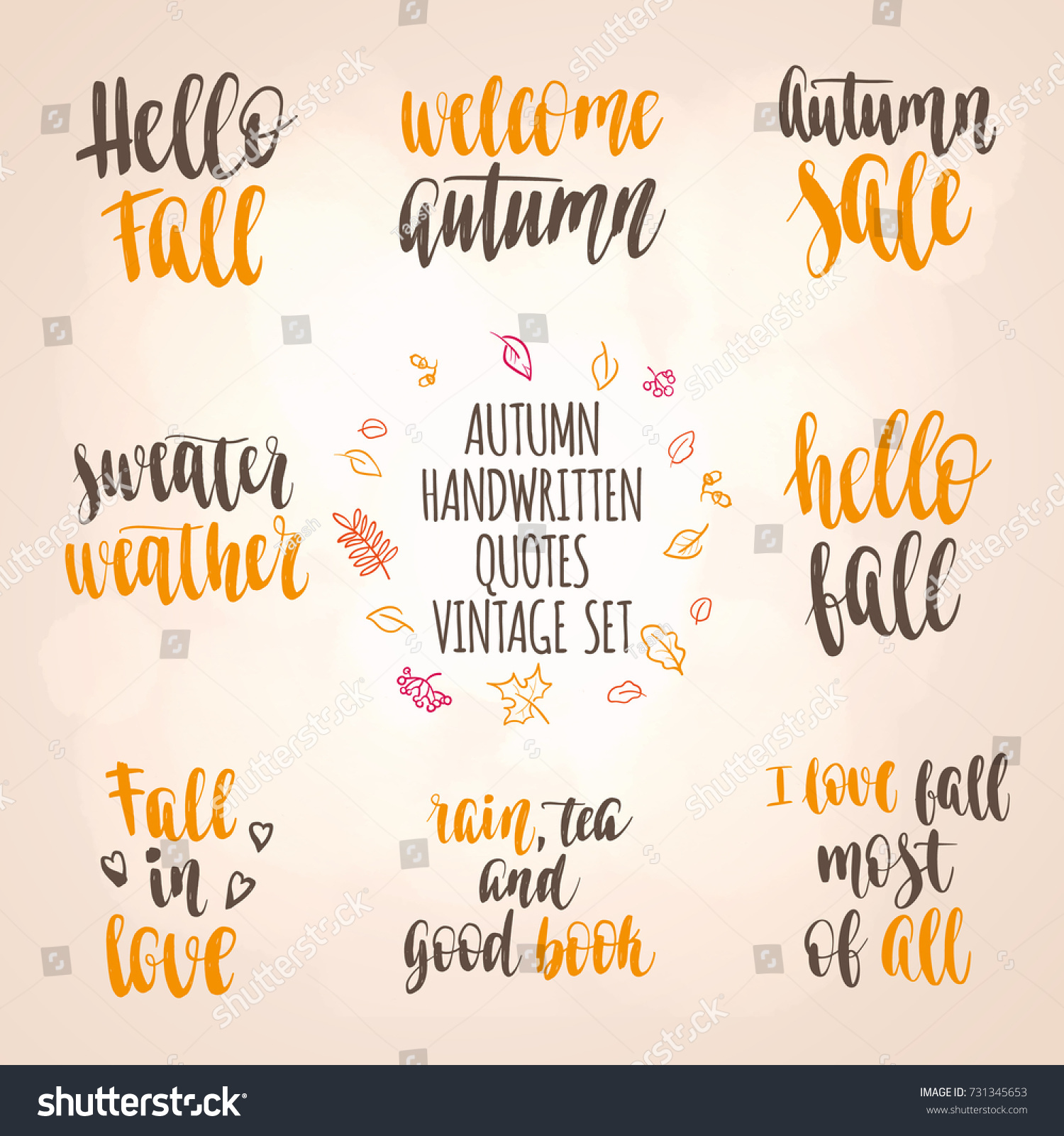 Autumn Quotes Vintage Lettering Set Fall Stock Vector Royalty Free