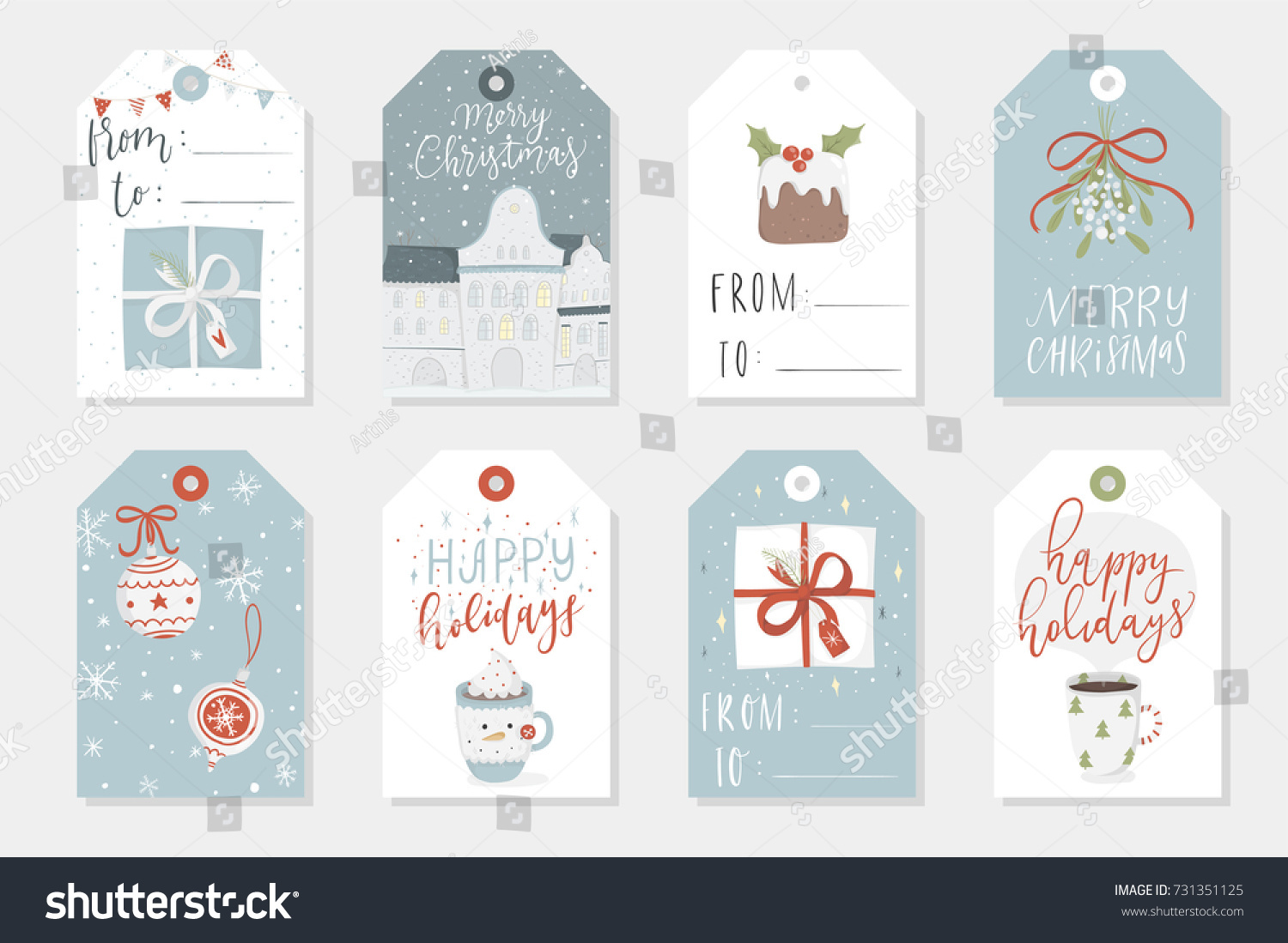 collection of 8 cute merry christmas and happy new year ready to use gift