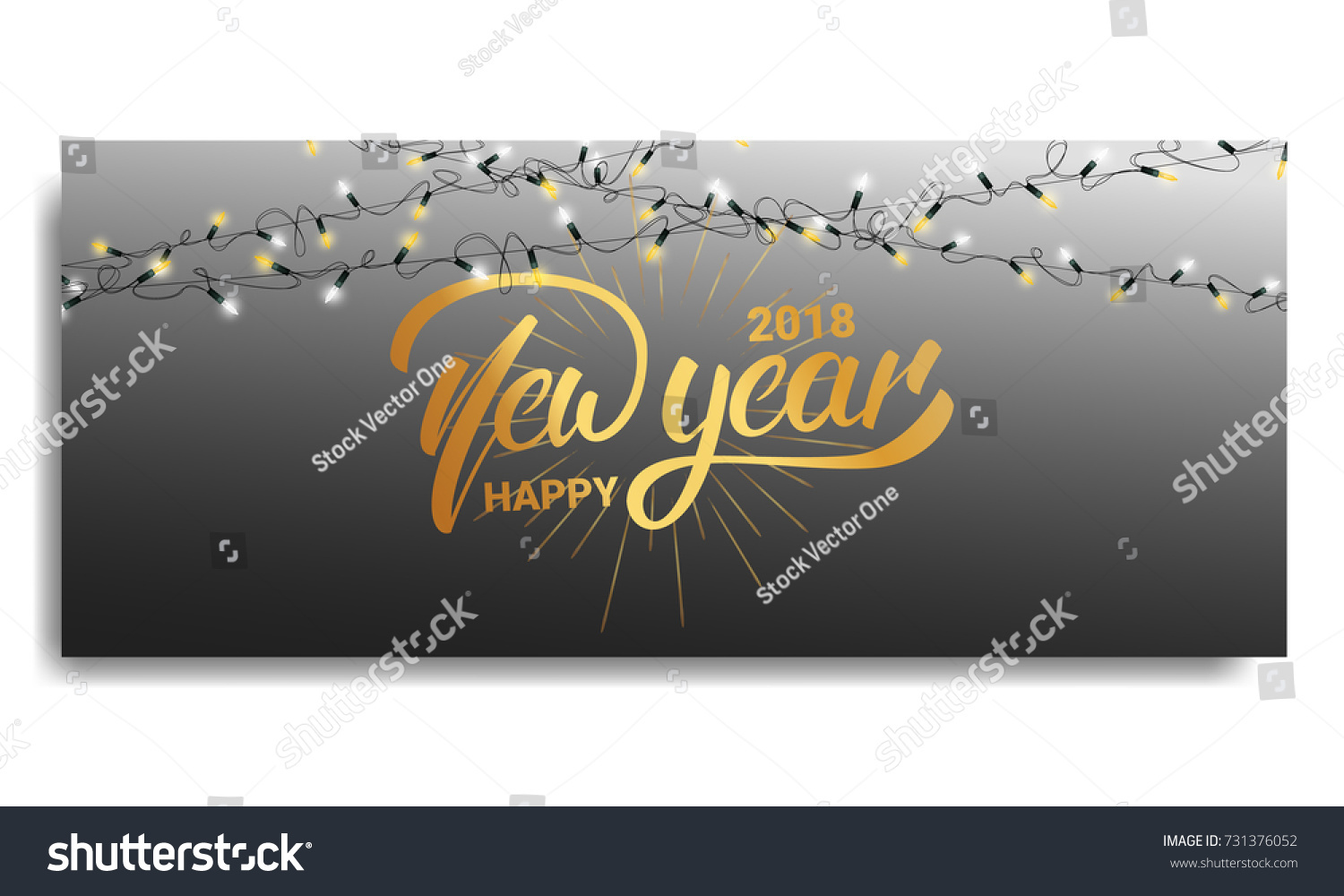 New Year 2018 Invitation Card Template Stock Vector Royalty Free