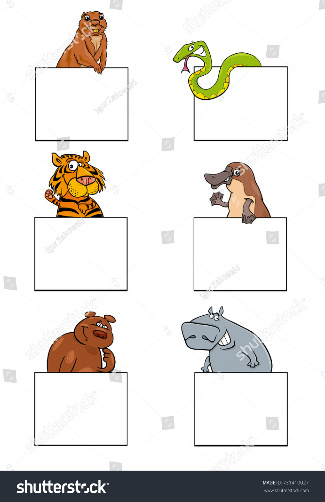 Cartoon Illustration Animal Characters White Greeting Stock ...