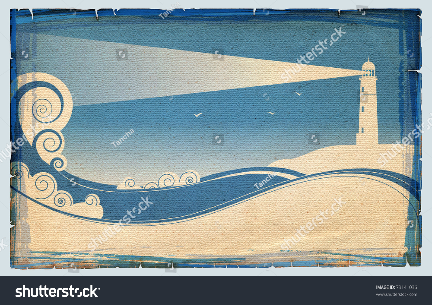 Symbols lighhouse sea landscape on old stock illustration 73141036 symbols of lighhouse in sea landscape on old paper texture biocorpaavc