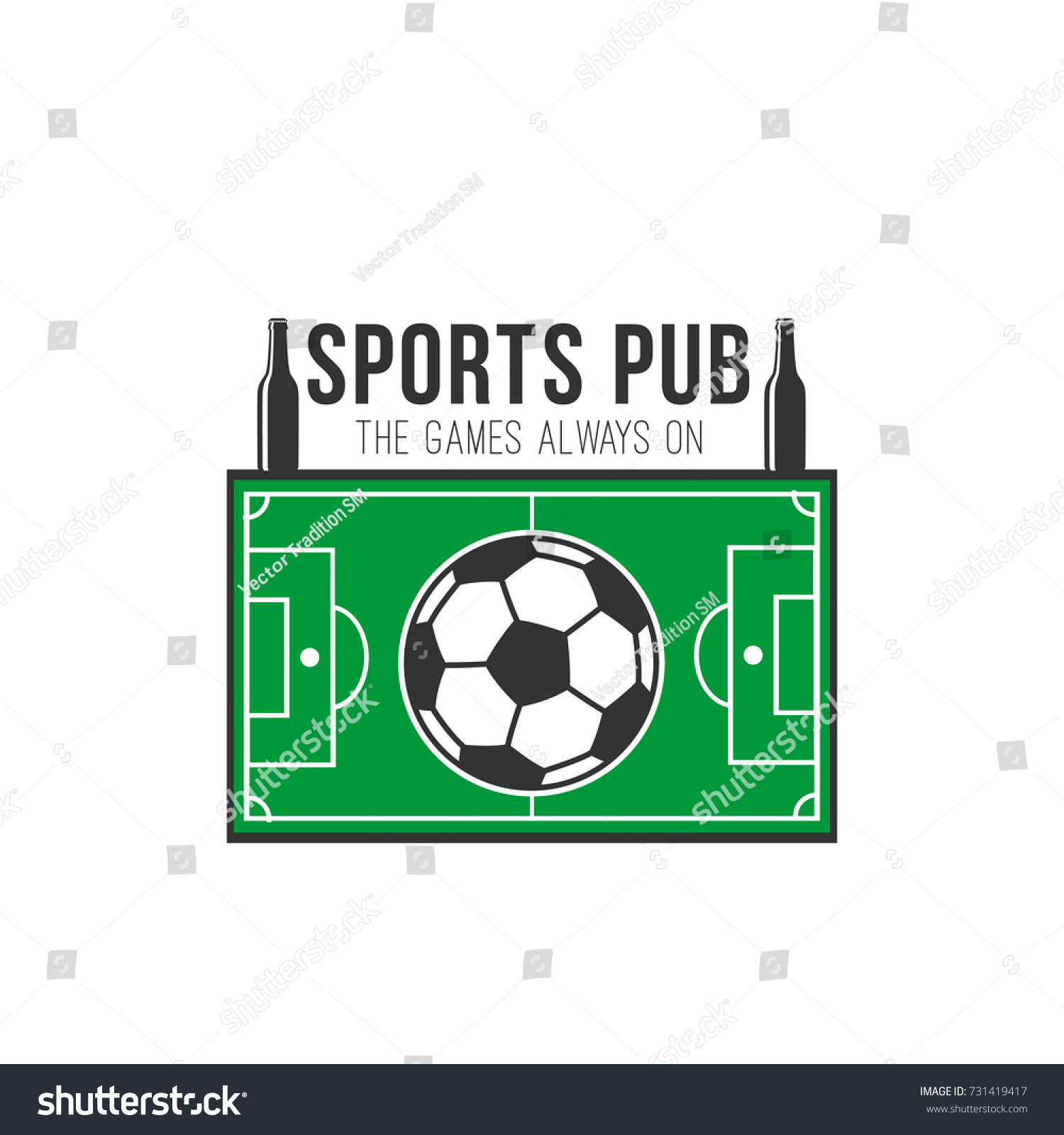 Sports pub icon soccer ball sport stock vector 731419417 sports pub icon of soccer ball and sport arena or football playing field in shape of buycottarizona
