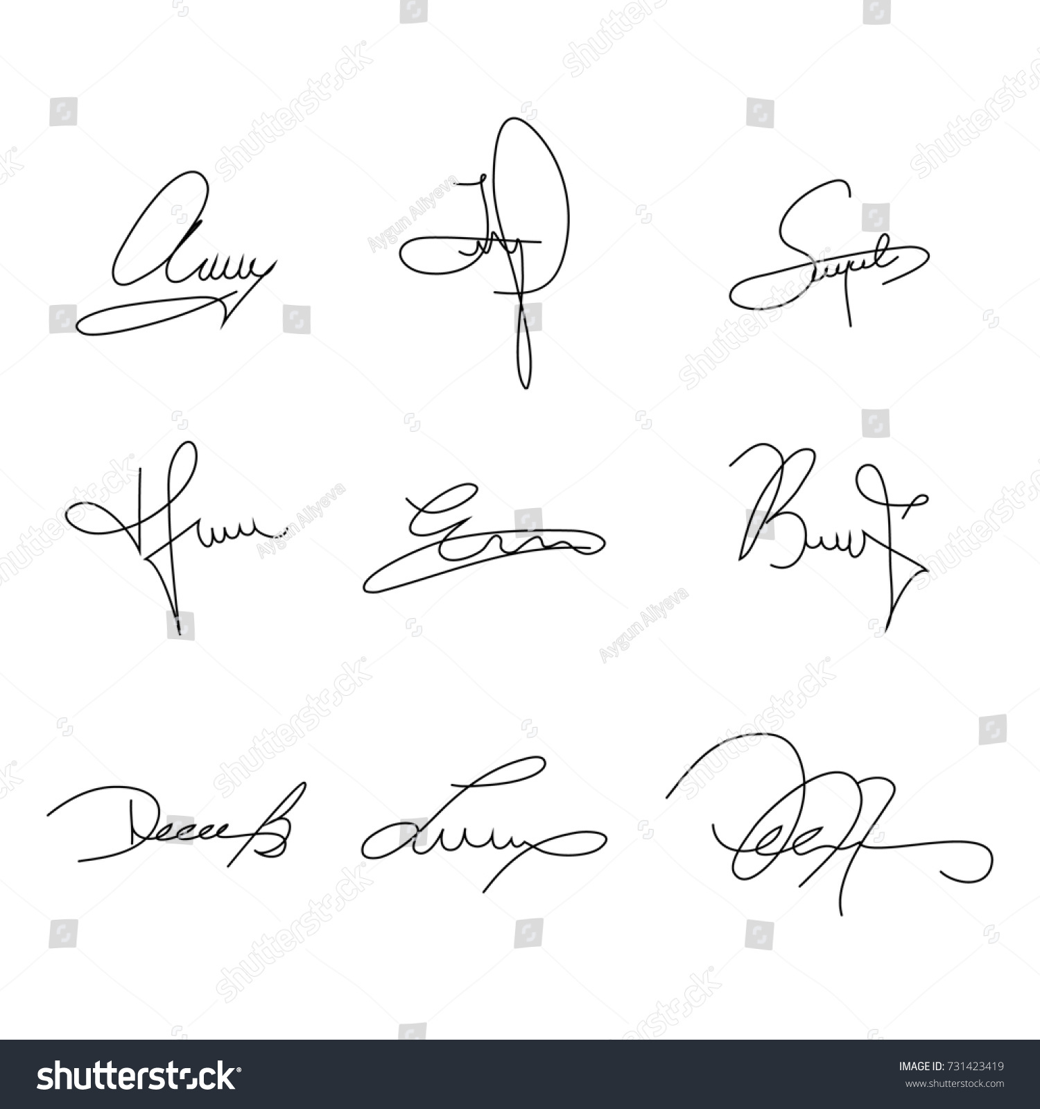 Collection of signature samples to use in your design vector illustration