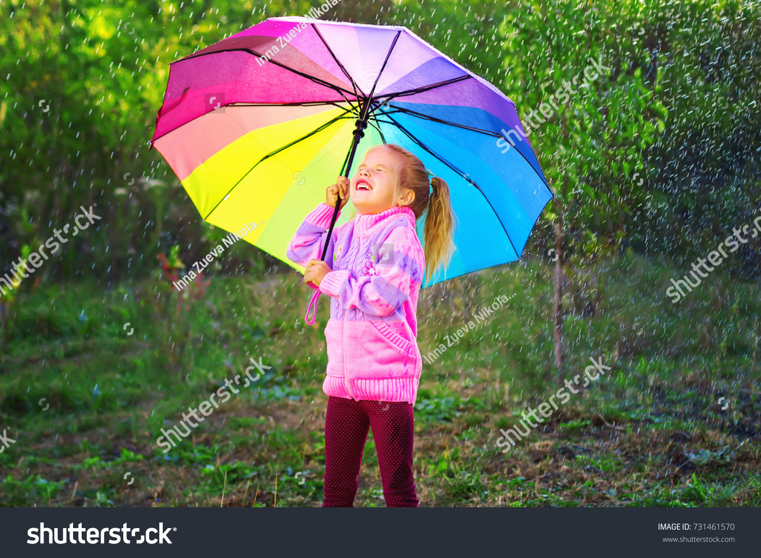 Happy Little Girl Colorful Umbrella Playing Stock Photo (Edit Now ...
