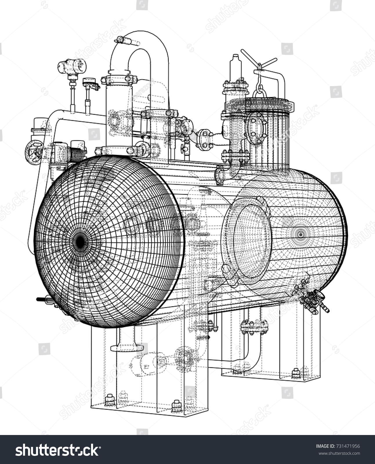 Sketch Industrial Equipment EPS 10 Vector Stock Photo (Photo, Vector ...