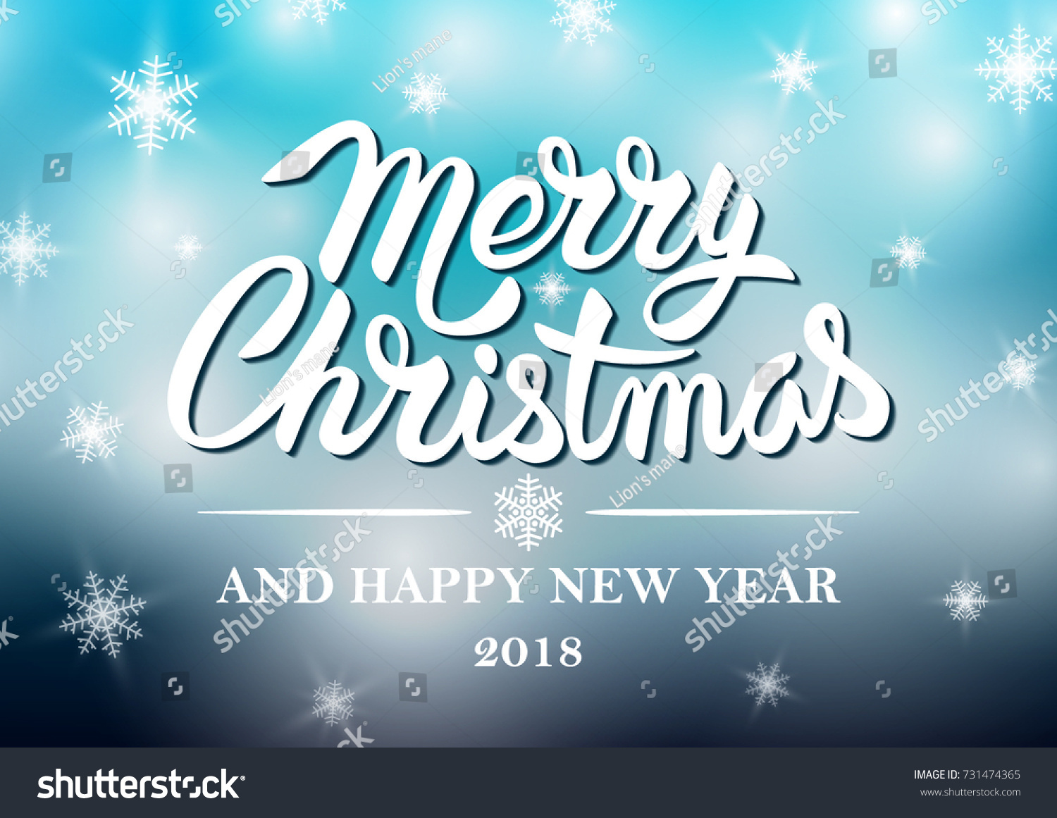 christmas and happy new year 2018 typographical on shiny xmas background with snowflakes light and