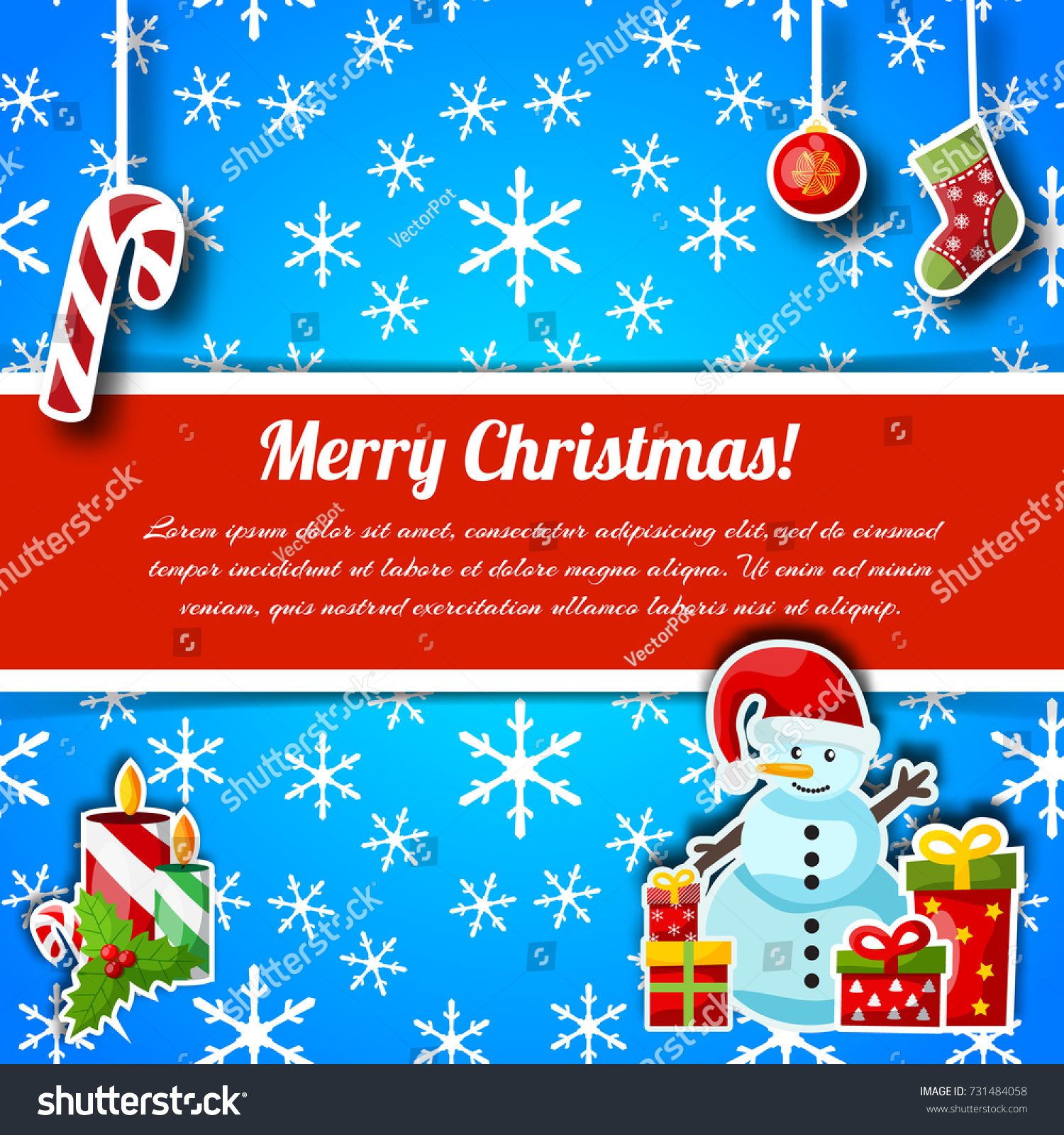 Christmas Greetings Typography Design Postcard Wishes Stock Vector