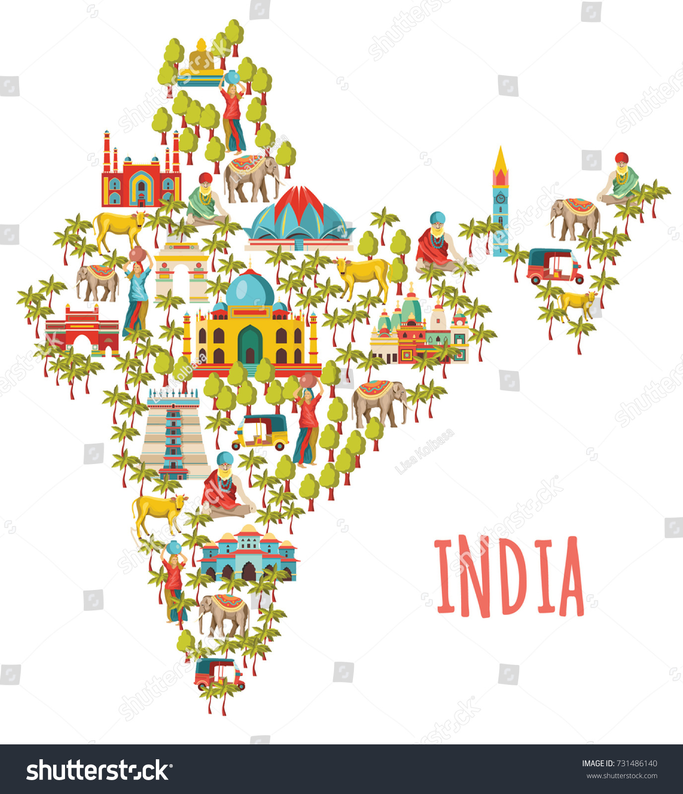 India Map Travel Tourism Background Vector Stock Vector HD Royalty