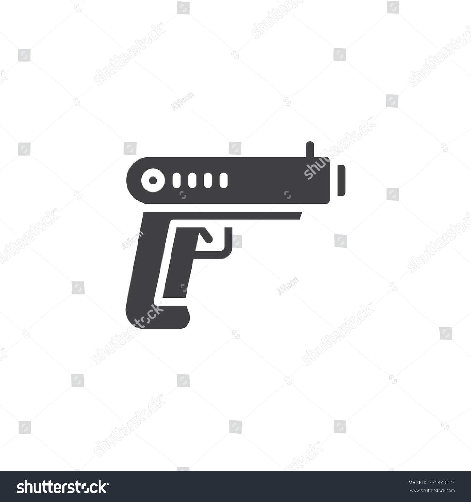 Gun icon vector filled flat sign stock vector 731489227 shutterstock gun icon vector filled flat sign solid pictogram isolated on white pistol symbol biocorpaavc Images