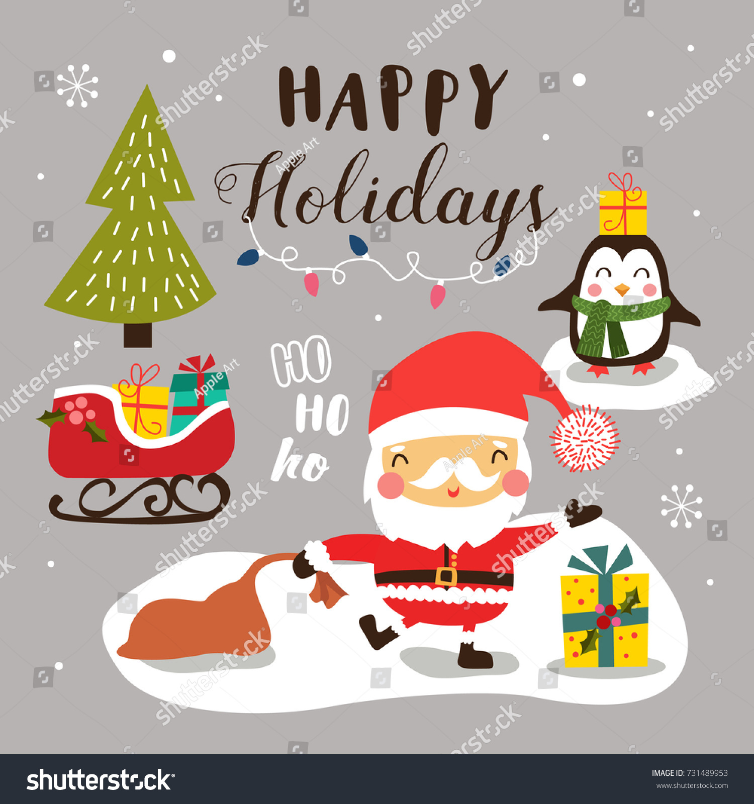 Merry Christmas Background With Cute Cartoon Santa Claus