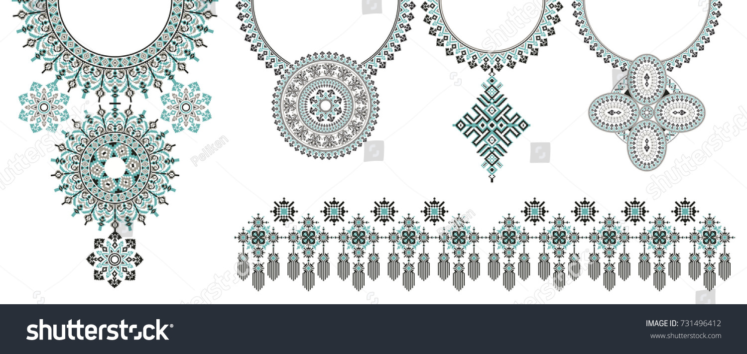 Vector Ethnic Necklace Embroidery Fashion Women Stock ...