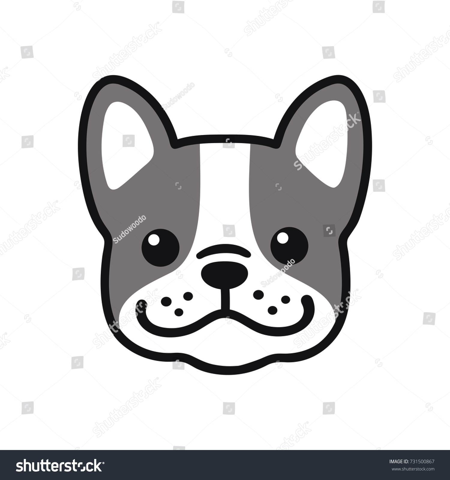 Cute Cartoon French Bulldog Face Drawing Stock Vector Royalty