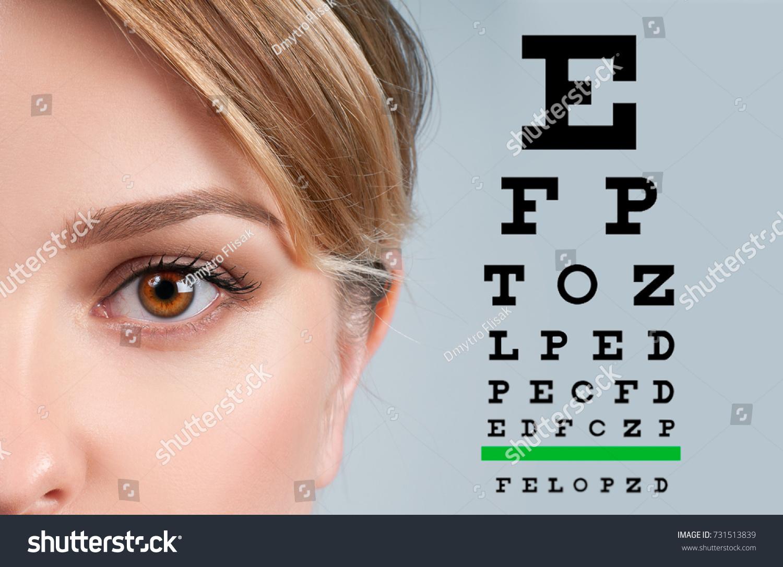 Eye Test Vision Chart With Man Eyes Background Ez Canvas