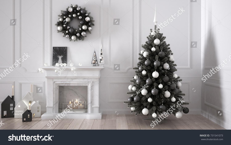 Classic Living Room Fireplace Christmas Tree Stock Illustration ...