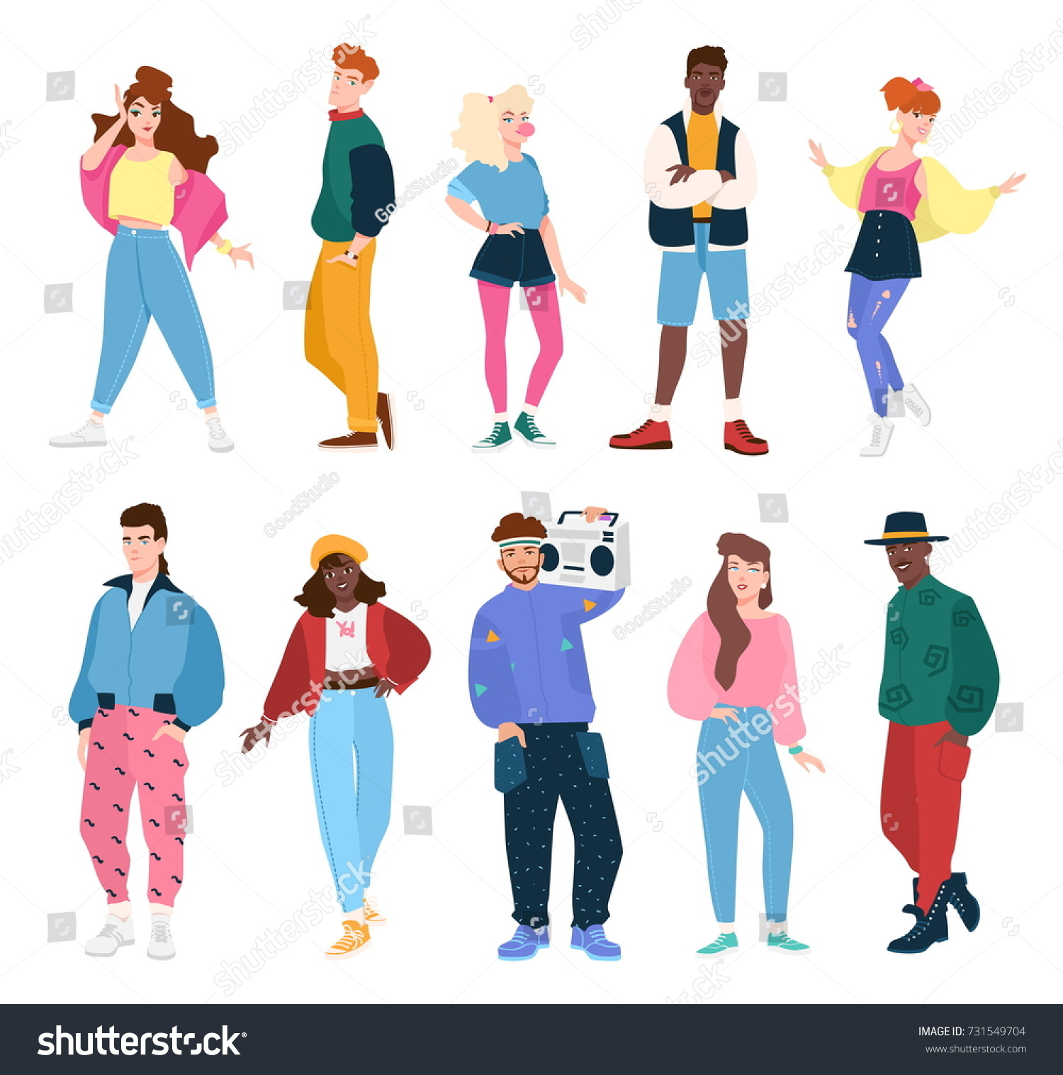 Male Cartoon Characters 80 S : Collection people wearing trendy clothes s stock vector