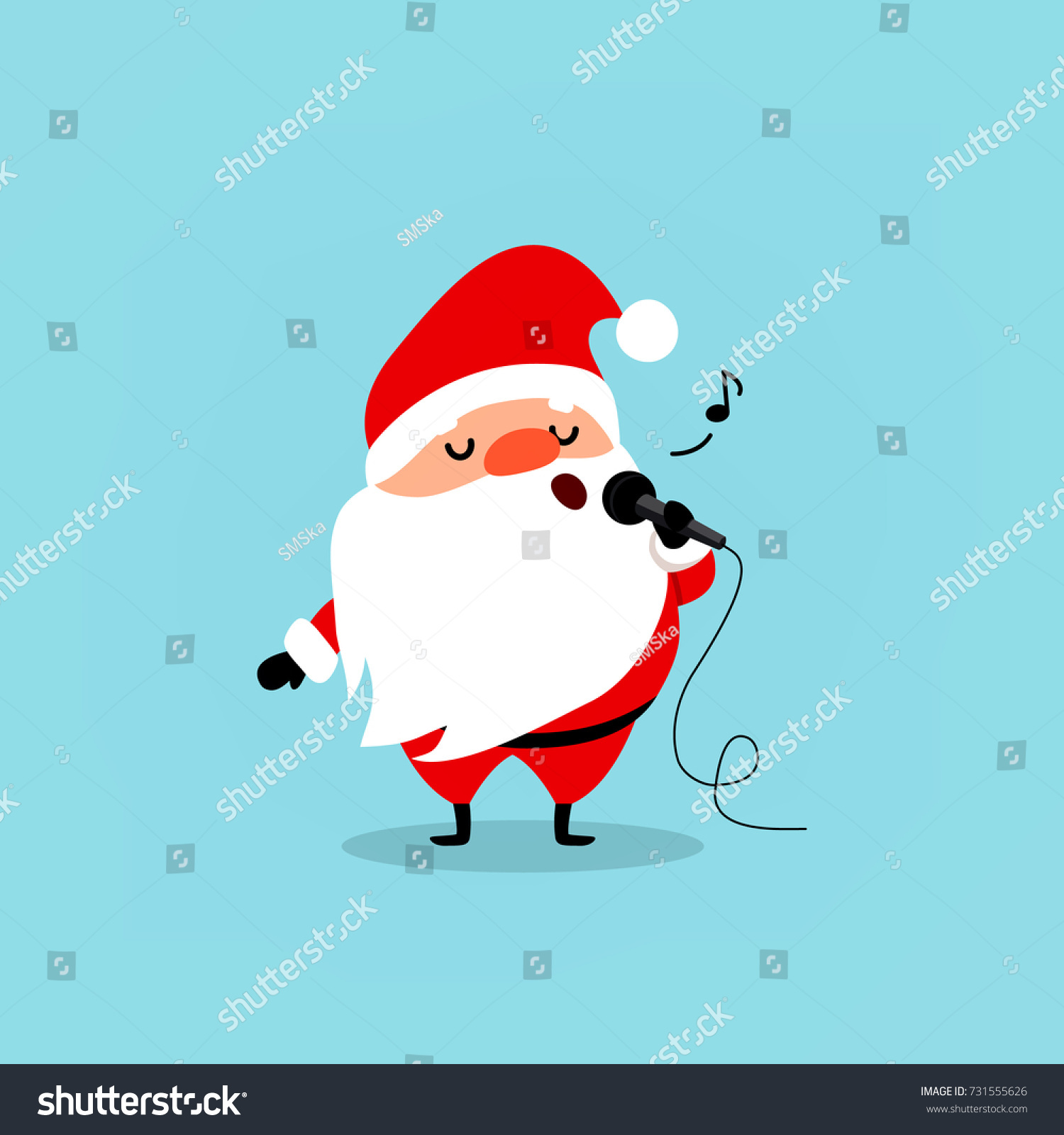 santa claus with a microphone sings karaoke a funny christmas character element from the - Blue Christmas Karaoke
