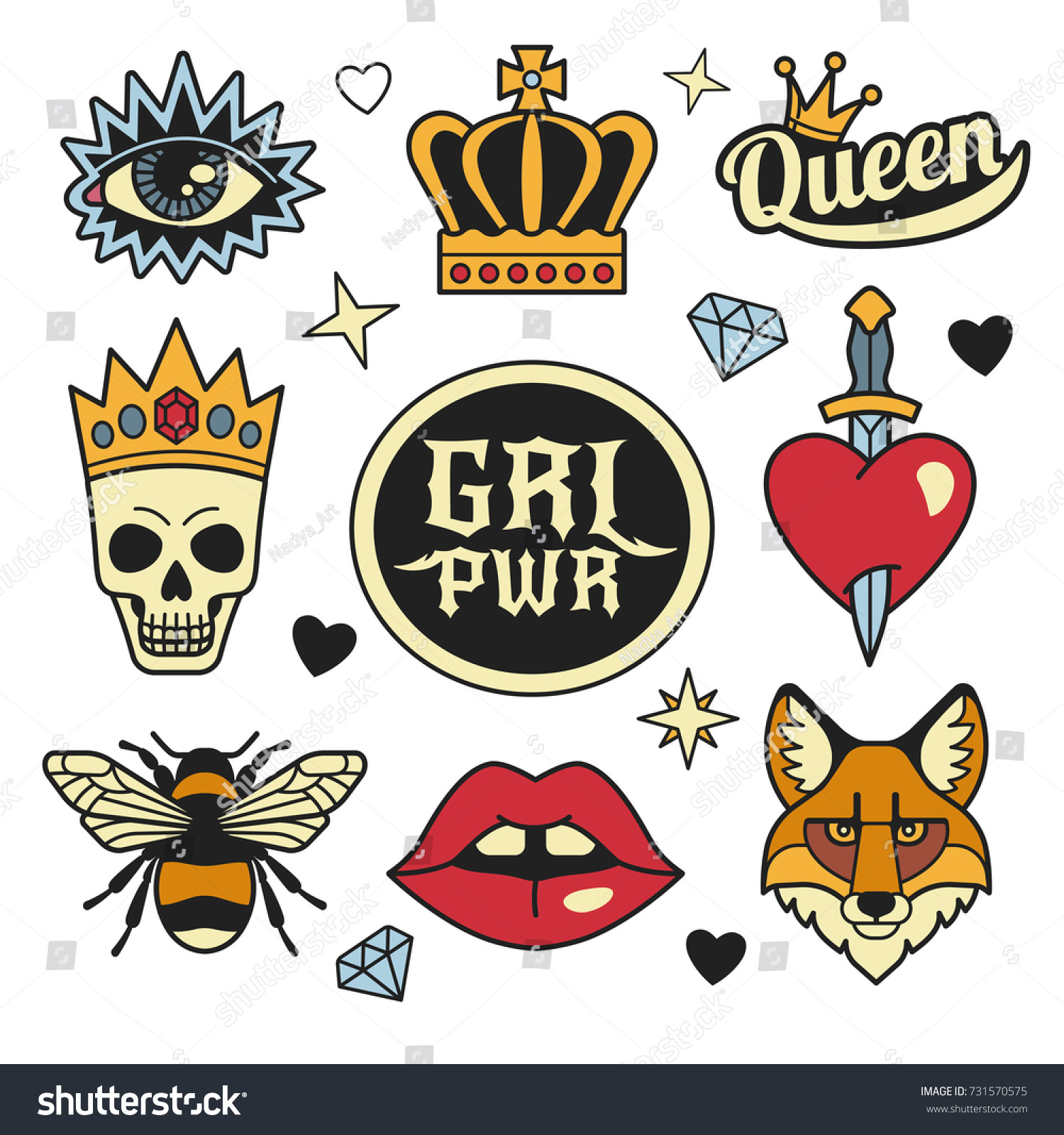 Fashion Patches Collection Vector Illustration Medieval Stock Vector