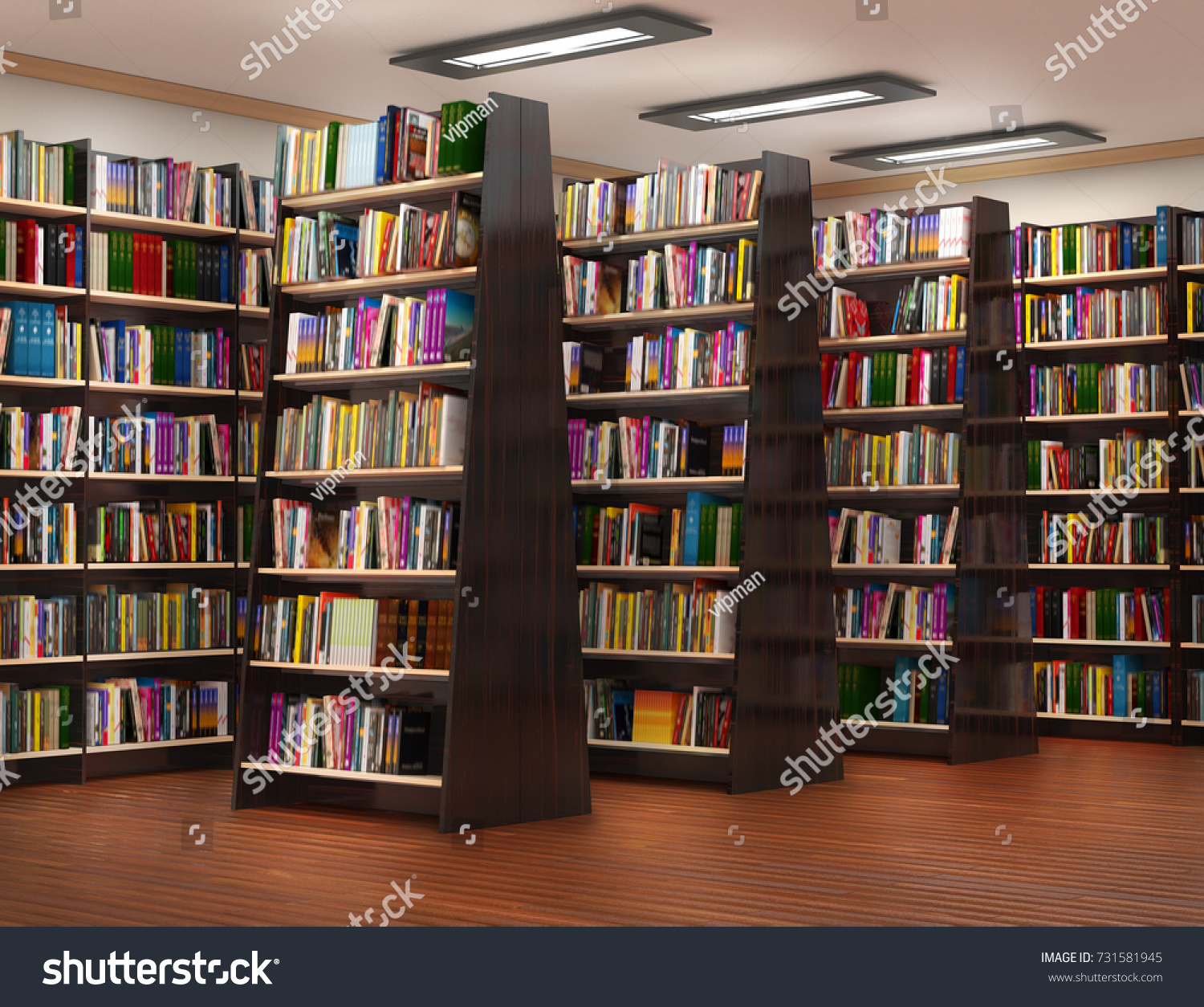 Bookshelf in book store 3d illustration Bookshelf