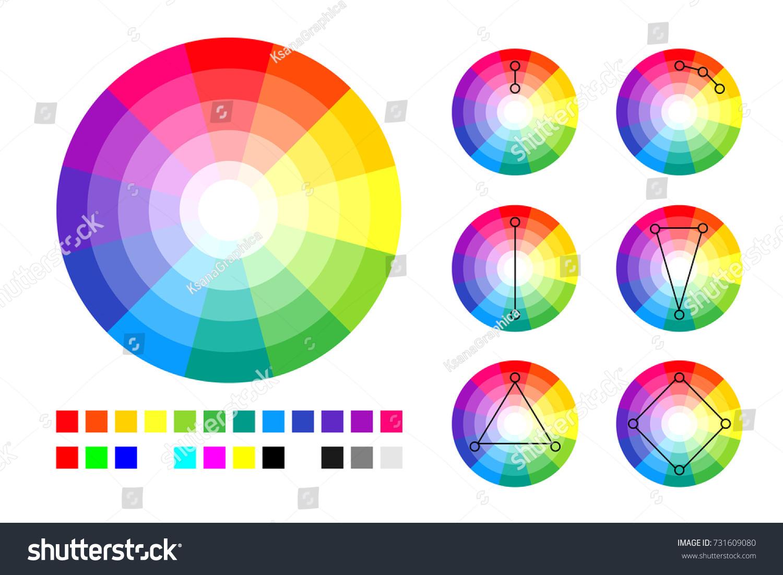 Color Wheel Schemes And RGB CMYK Palette