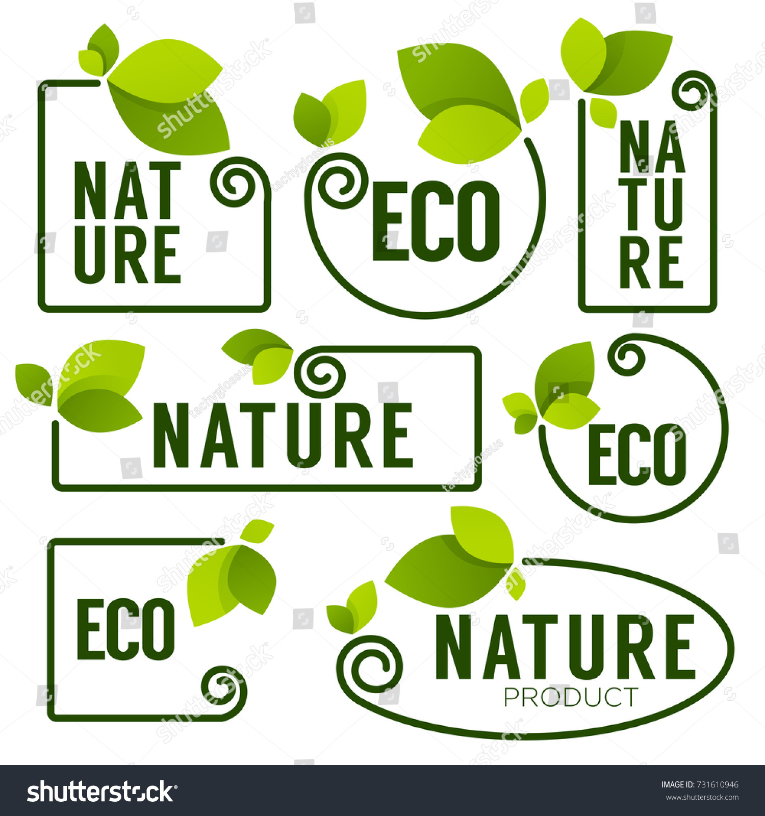 Eco Nature Green Fresh Leaves Emblems Stock Vector HD (Royalty Free ...
