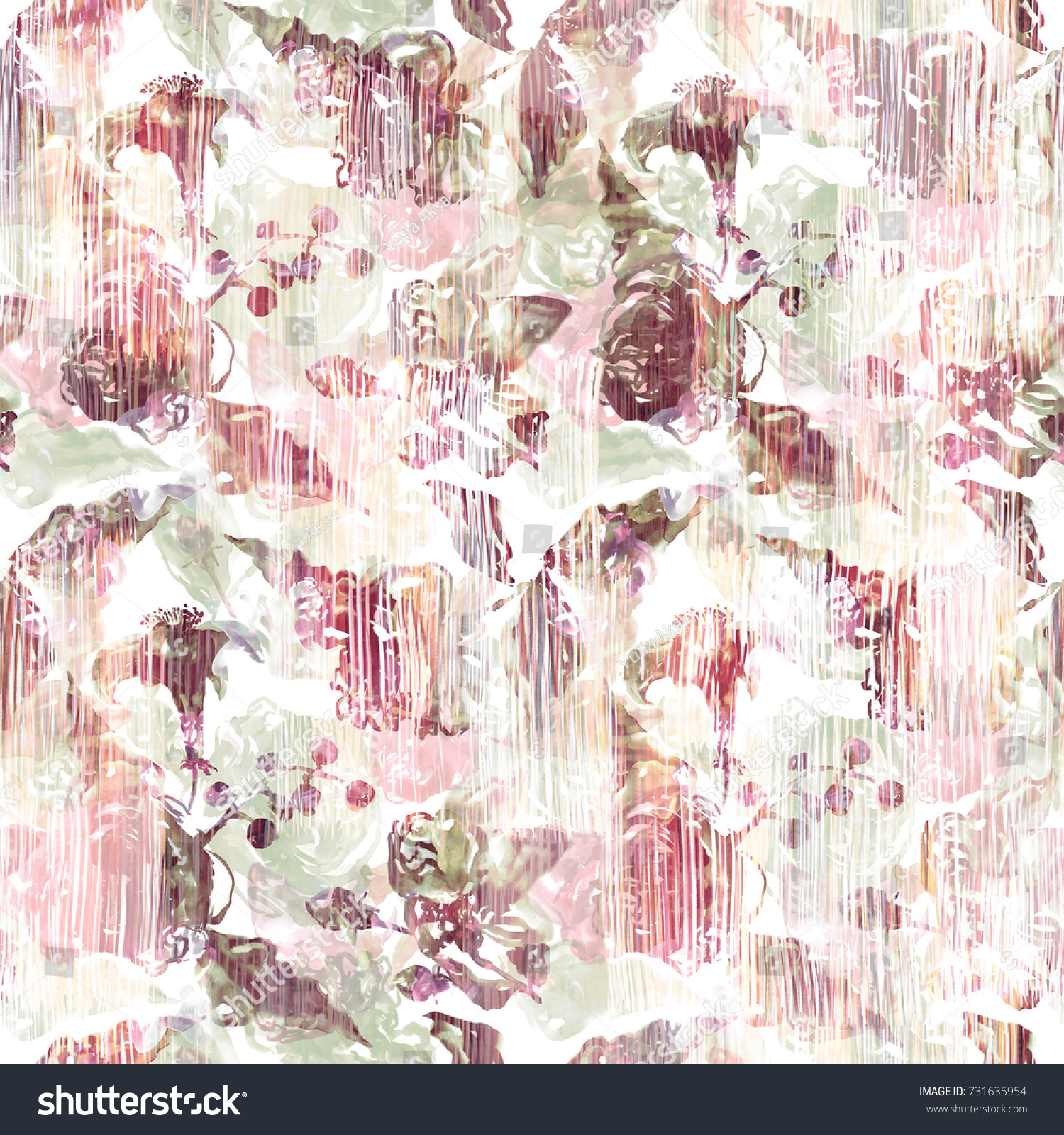 Floral Pattern Old Effect Painting Wall Stock Illustration 731635954 ...