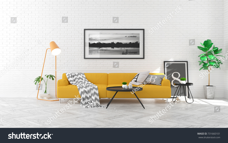 Scandinavia Style Living Room Interior Concept Stock Illustration ...