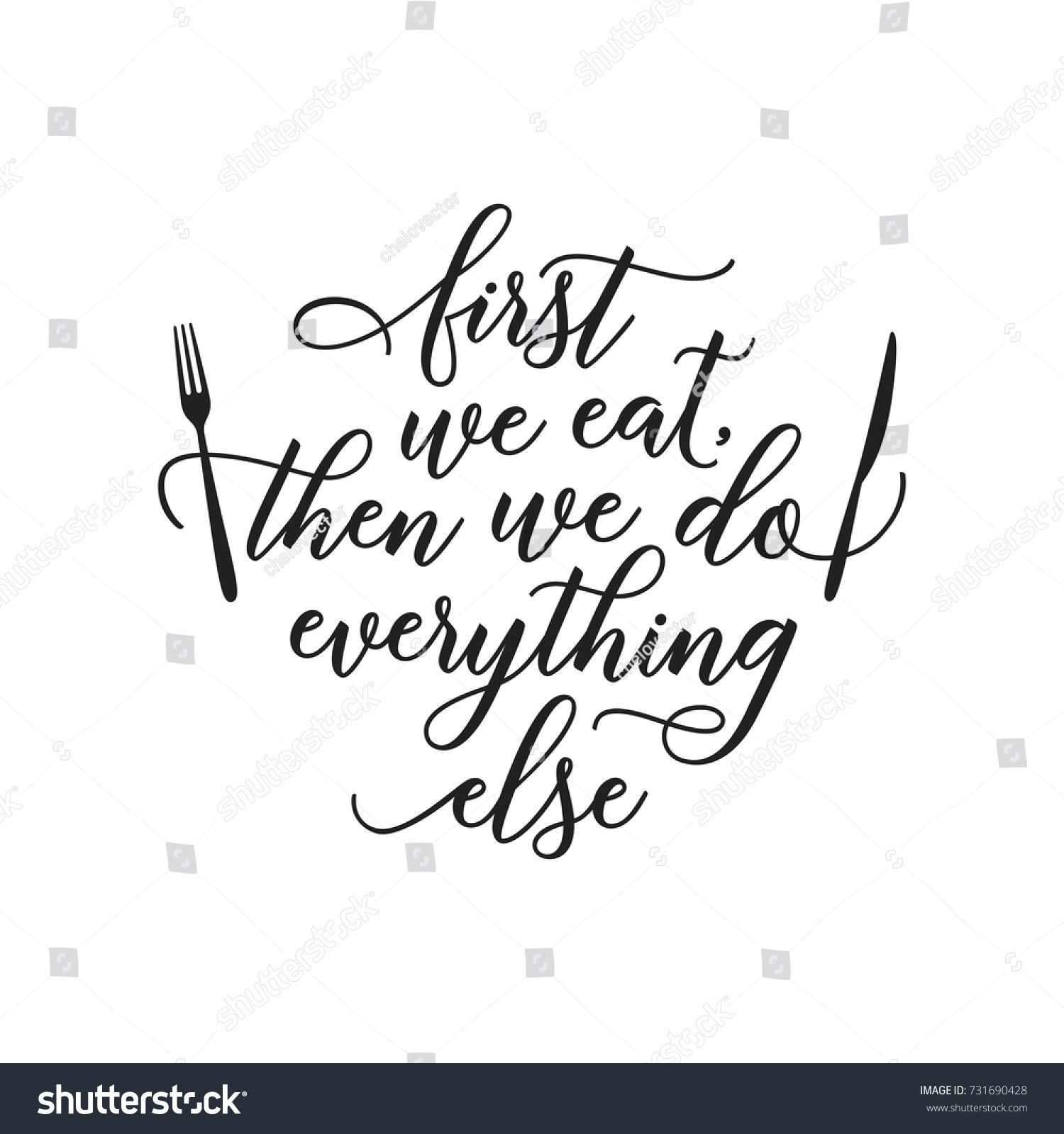 Kitchen Poster Food As Alphabet With Food Name: First We Eat Typography Kitchen Poster Stock Vector