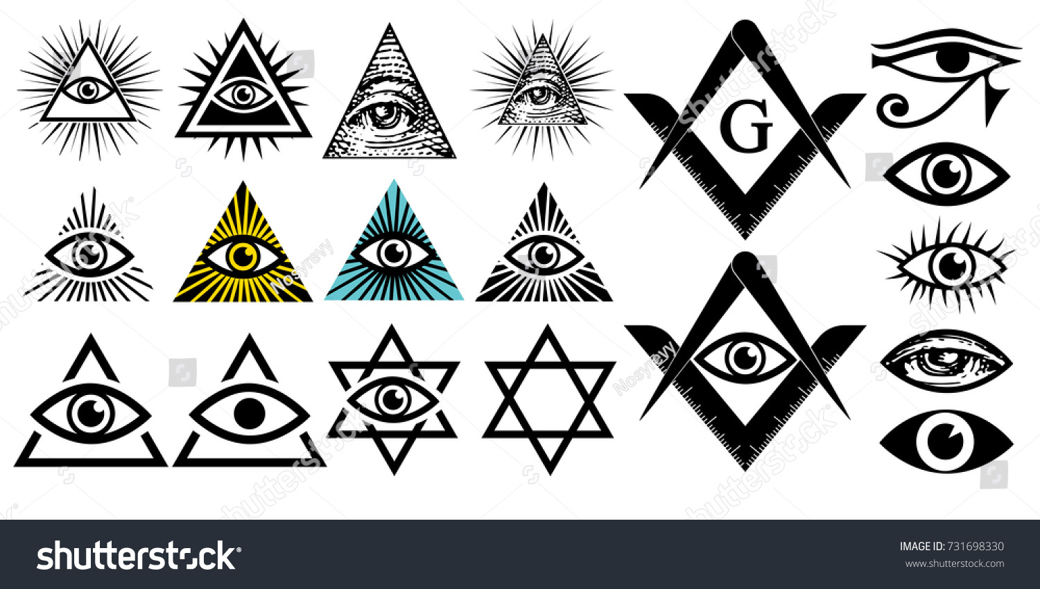 All Seeing Eye Illuminati Symbols Masonic Stock Vector Royalty Free