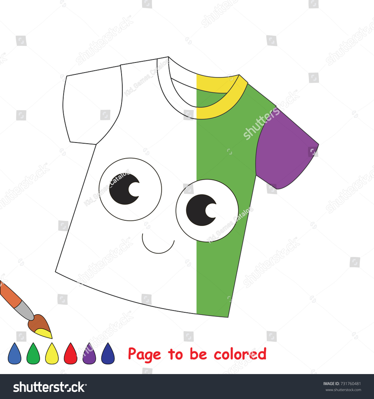 Green Funny Tshirt Coloring Book Educate Stock Vector 731760481 ...