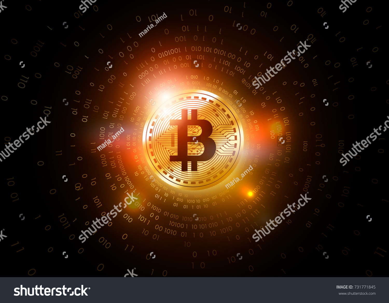 Gold Bit Coin Digital Currency Cryptogram Stock Vector Royalty Free Money Concept Circuit Board With State Bank Futuristic Technology Worldwide Network
