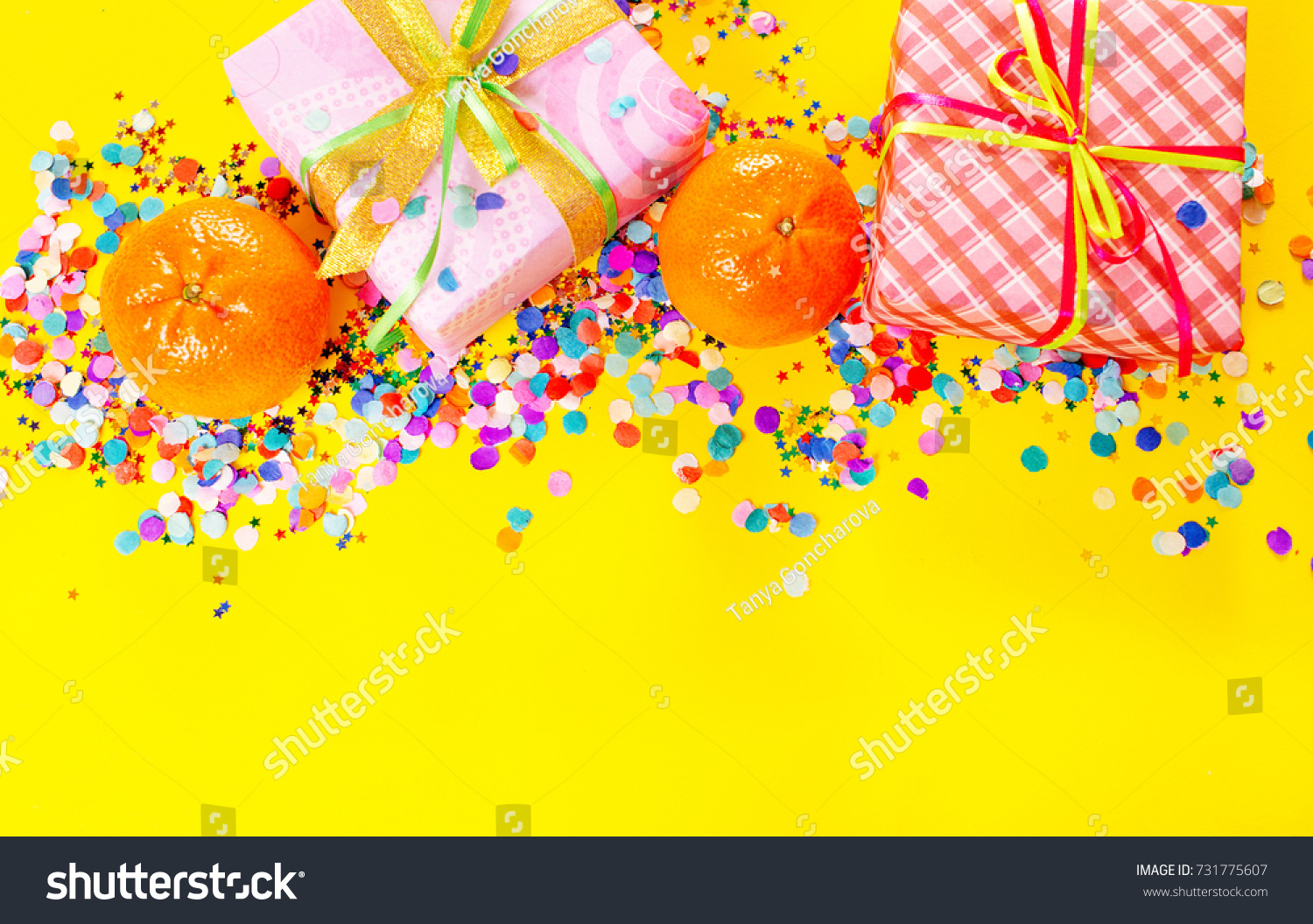 Colored Gift Boxes Colorful Ribbons Yellow Stock Photo Edit Now