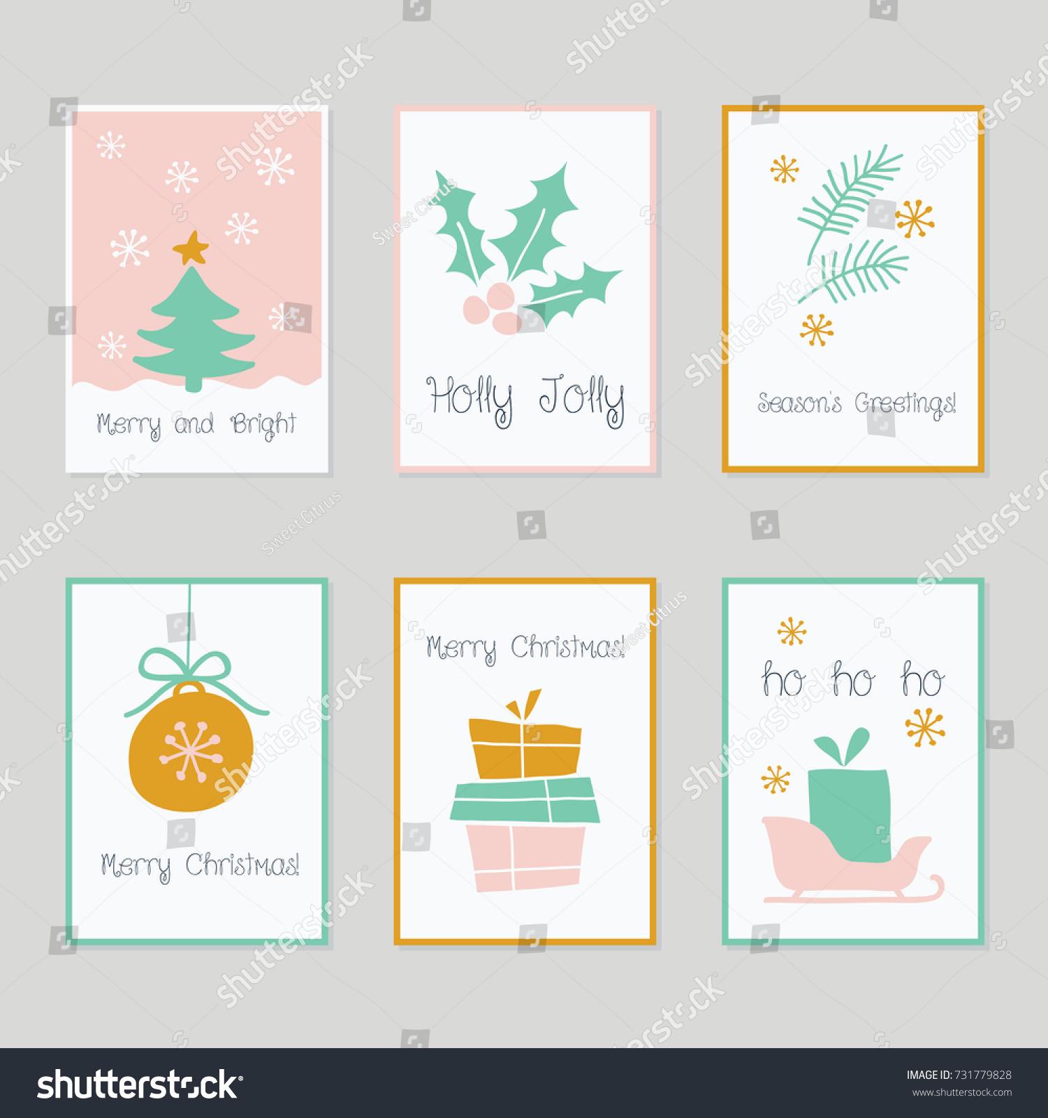 set of decorative christmas cards in pink mint green gold white hand - Mint Christmas Cards