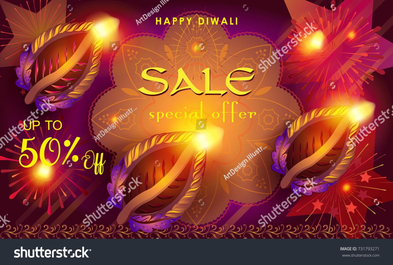 Diwali Sale Prosperous Banner Burning Diya Stock Vector Royalty