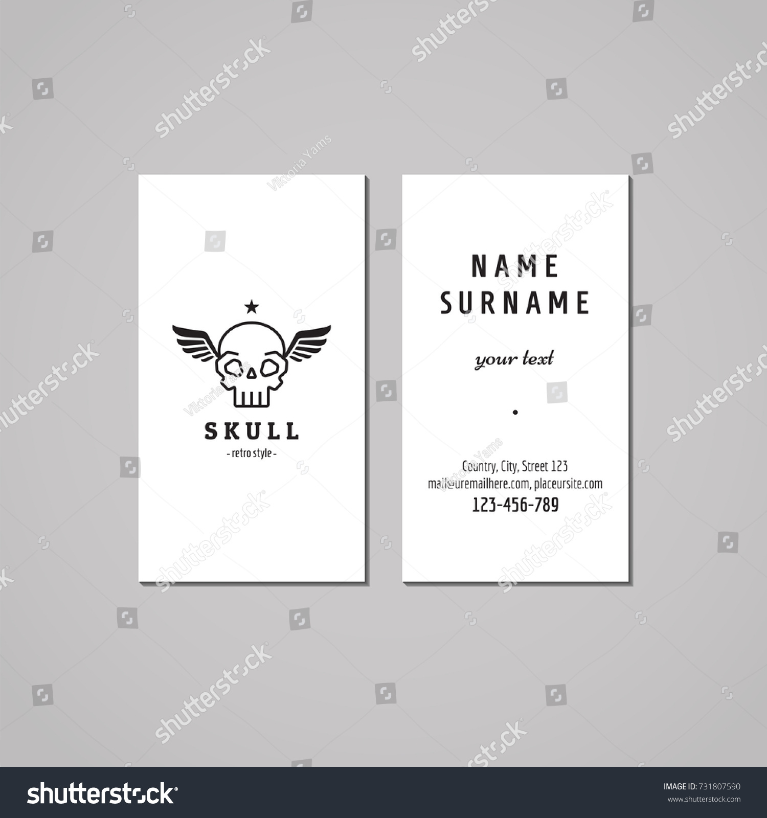 Business card hipster style skull wings stock vector 731807590 business card hipster style with skull and wings black logo vector vintage design magicingreecefo Choice Image