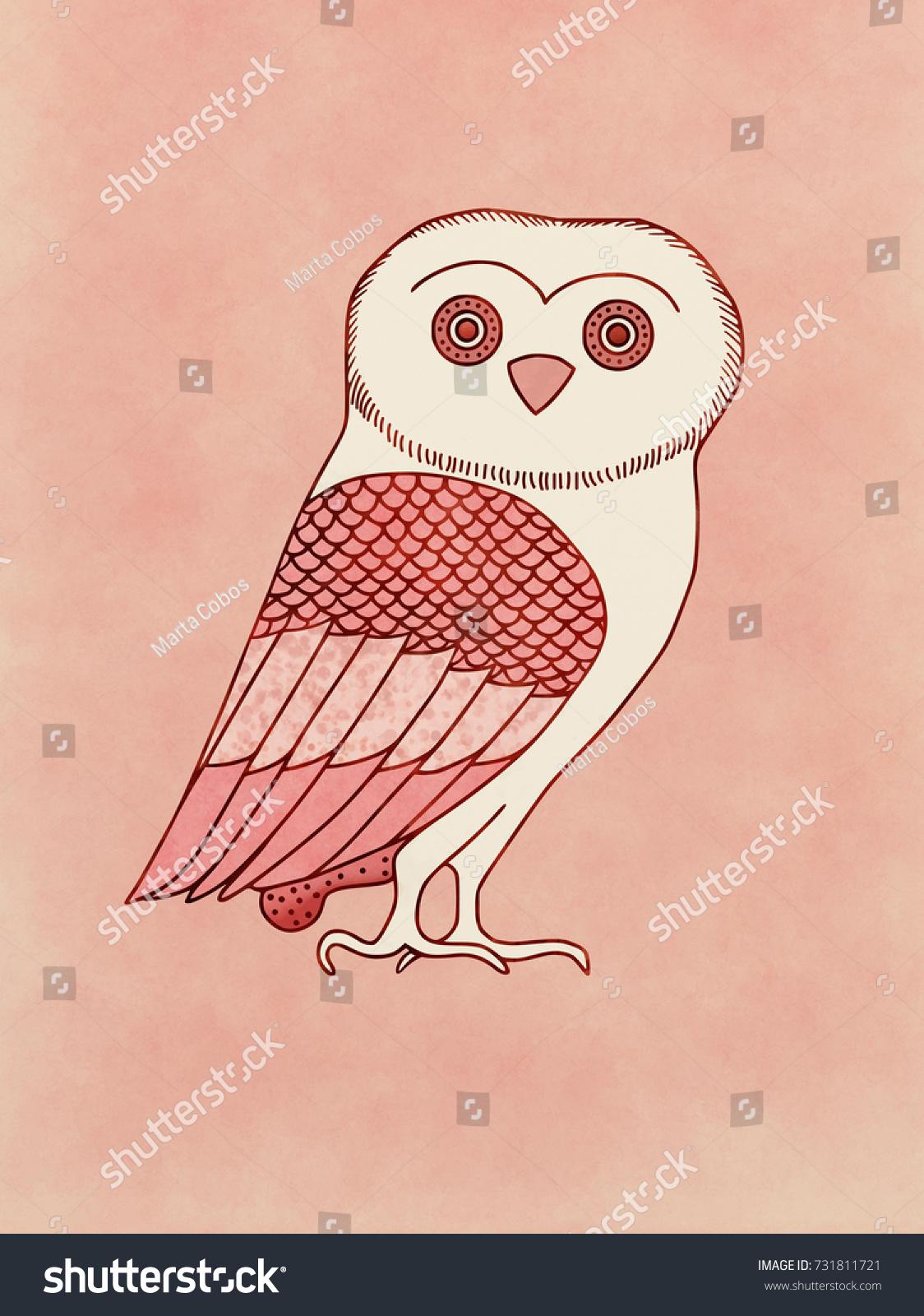 Cute Owl Symbol Athena Goddess Athens Stock Illustration 731811721