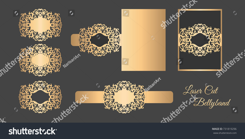 Laser Cut Bellyband Template Wedding Invitation Stock Vector ...