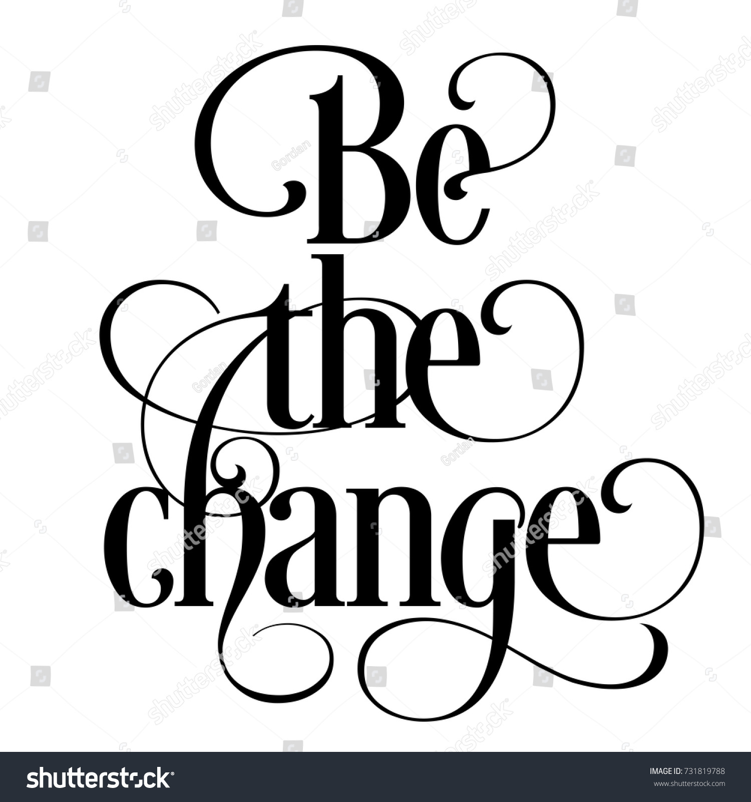 Inspirational Quote Be Change Cool Inspiring Stockvector