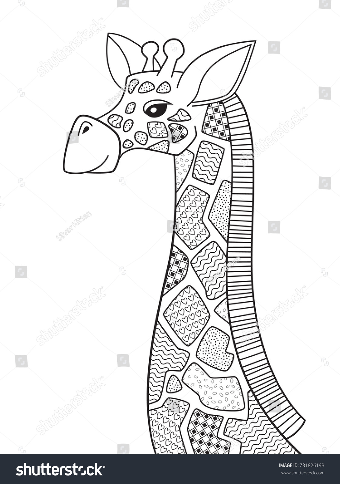Coloring pages for adults giraffe - Outlined Doodle Anti Stress Coloring Page Cute Giraffe With Patterned Spot Coloring Book Page