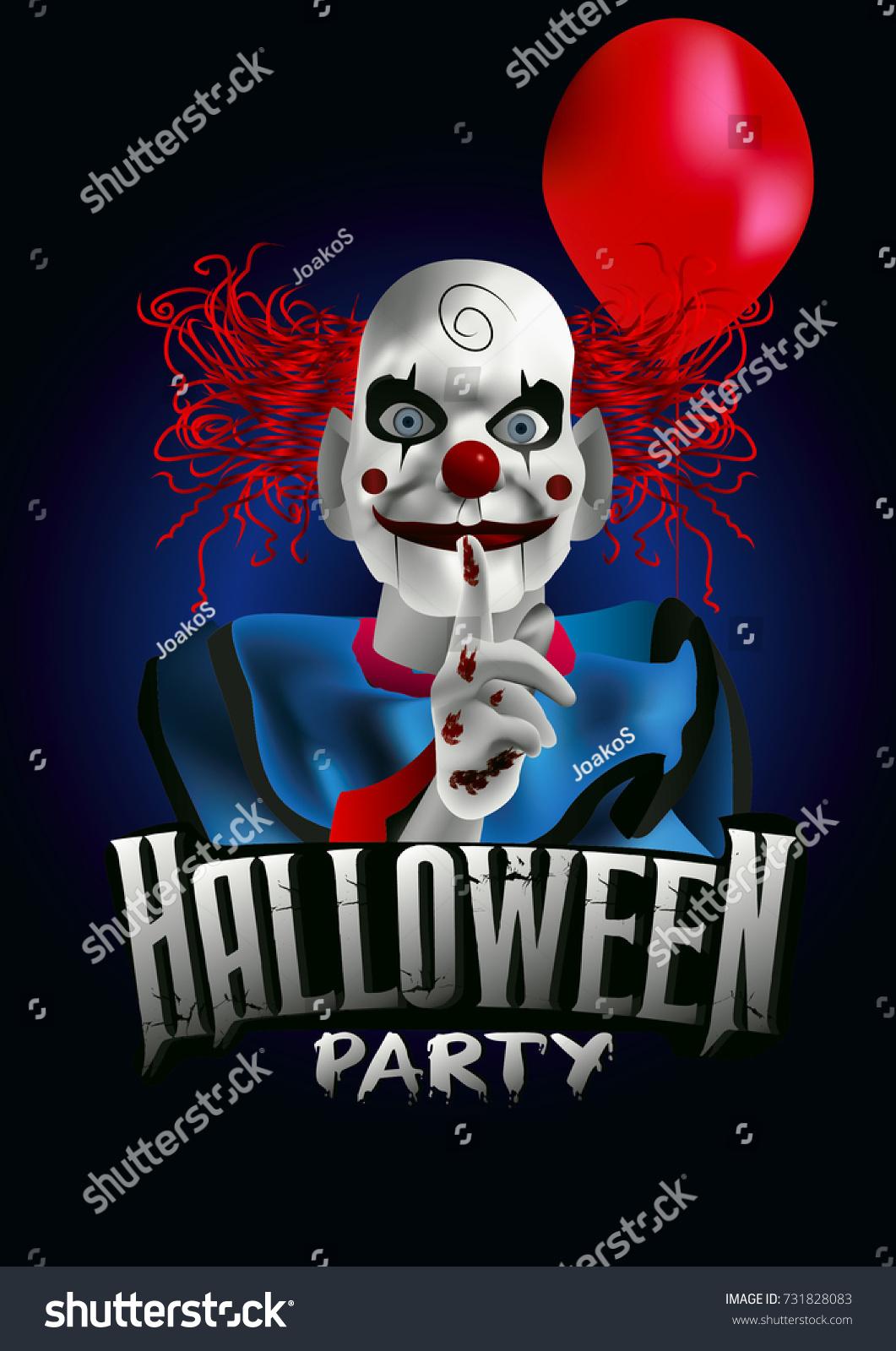 scary clown balloon halloween party flyer stock vector royalty free