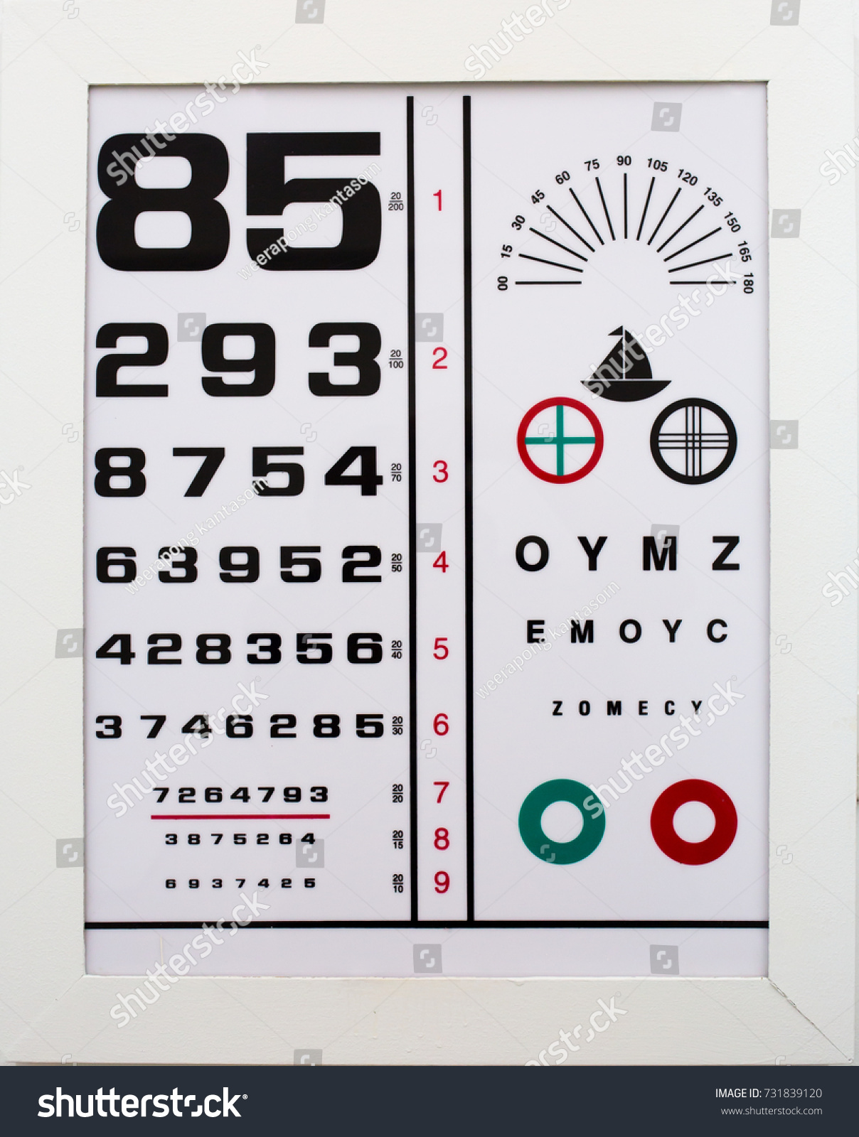 Eye Snellen Chart Numbers Letters Stock Photo Edit Now 731839120