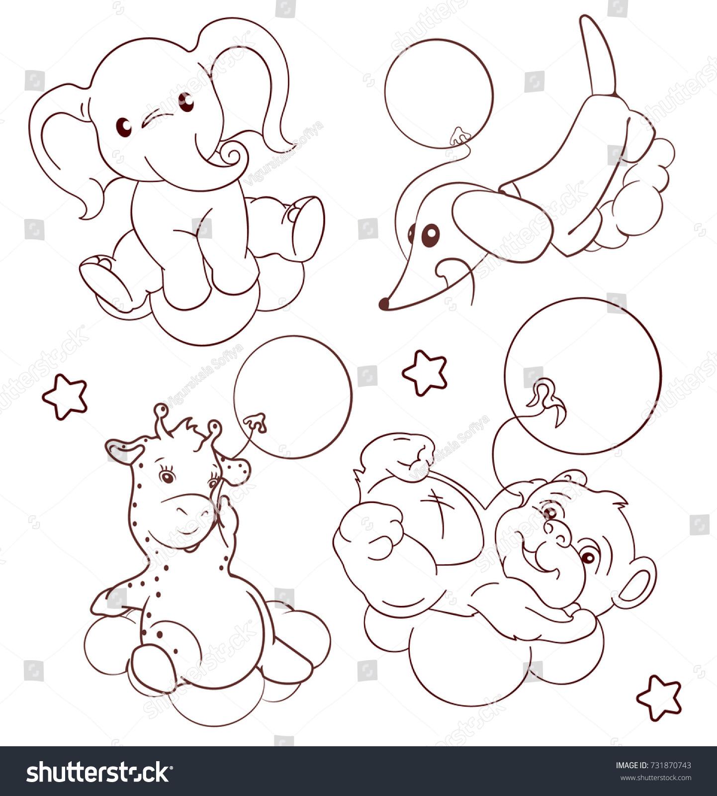 vector outline hand drawn cartoon giraffe stock vector 731870743