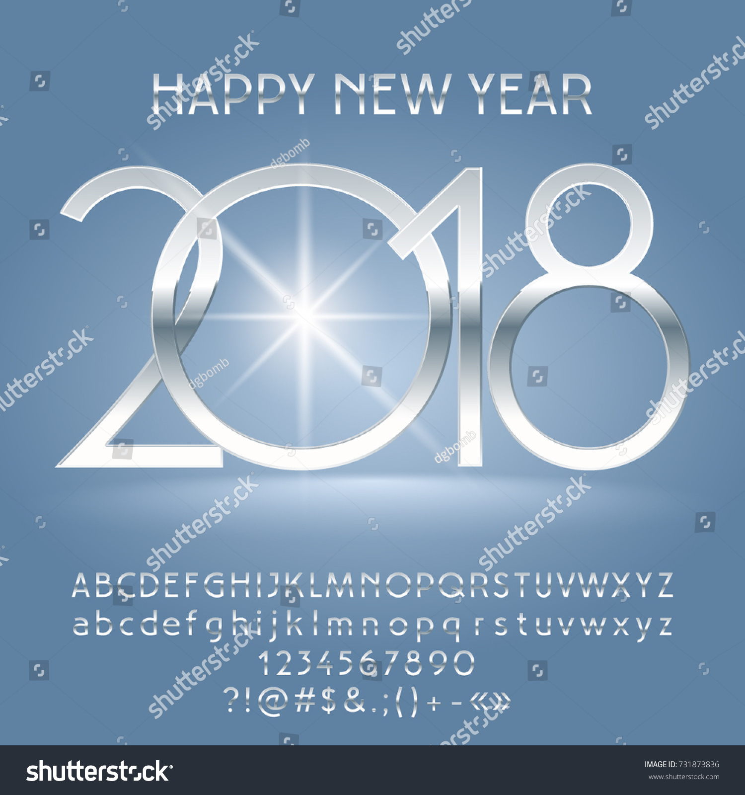 Vector Luxury Happy New Year 2018 Greeting Card With Alphabet Set Of Letters Symbols And