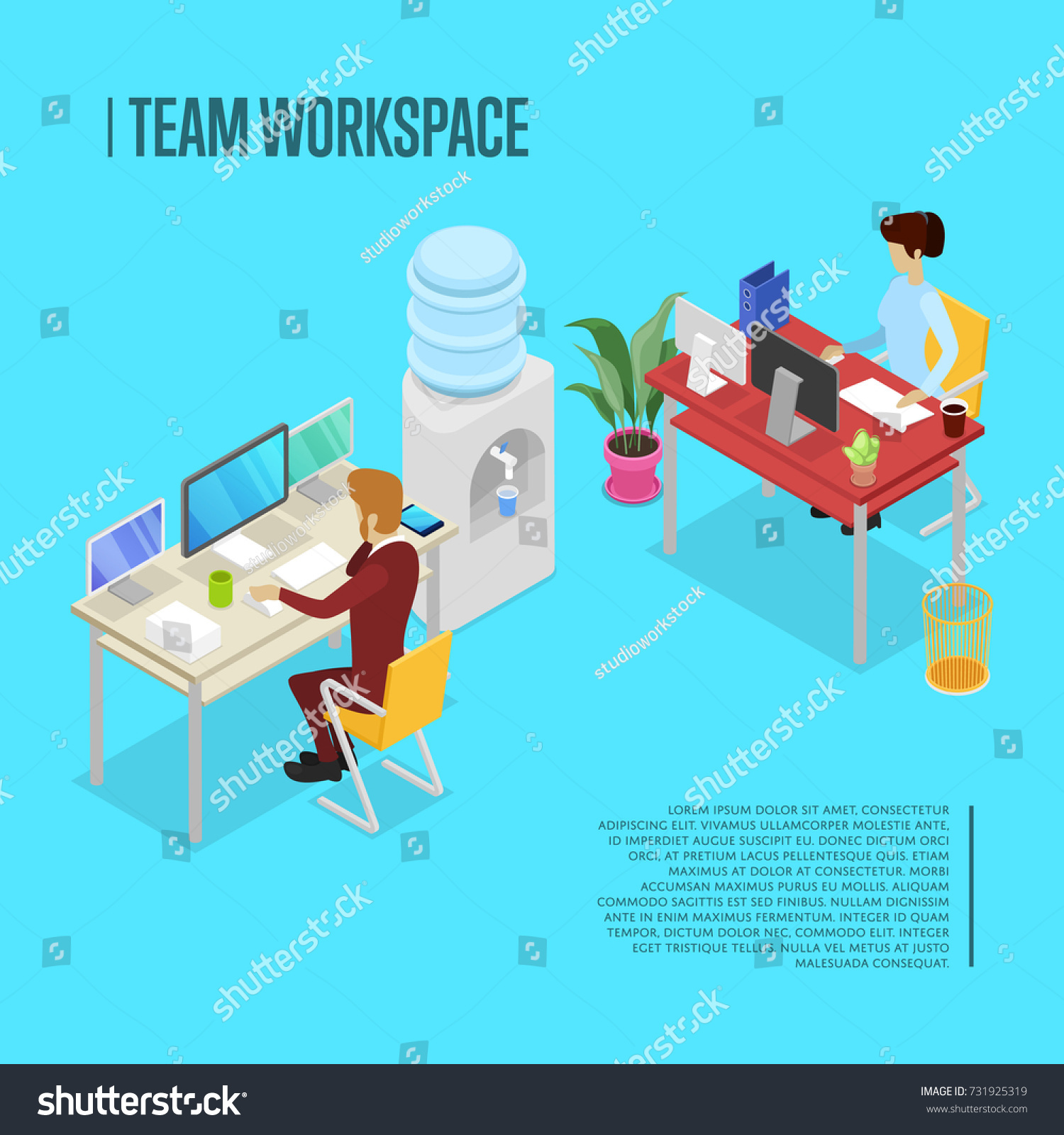 Modern Team Workspace Isometric Poster Corporate Office Life Concept With Busy Business People Working In