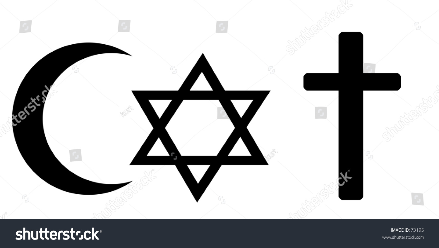 Set 3 Religious Symbols Islamic Crescent Stock Photo Edit Now