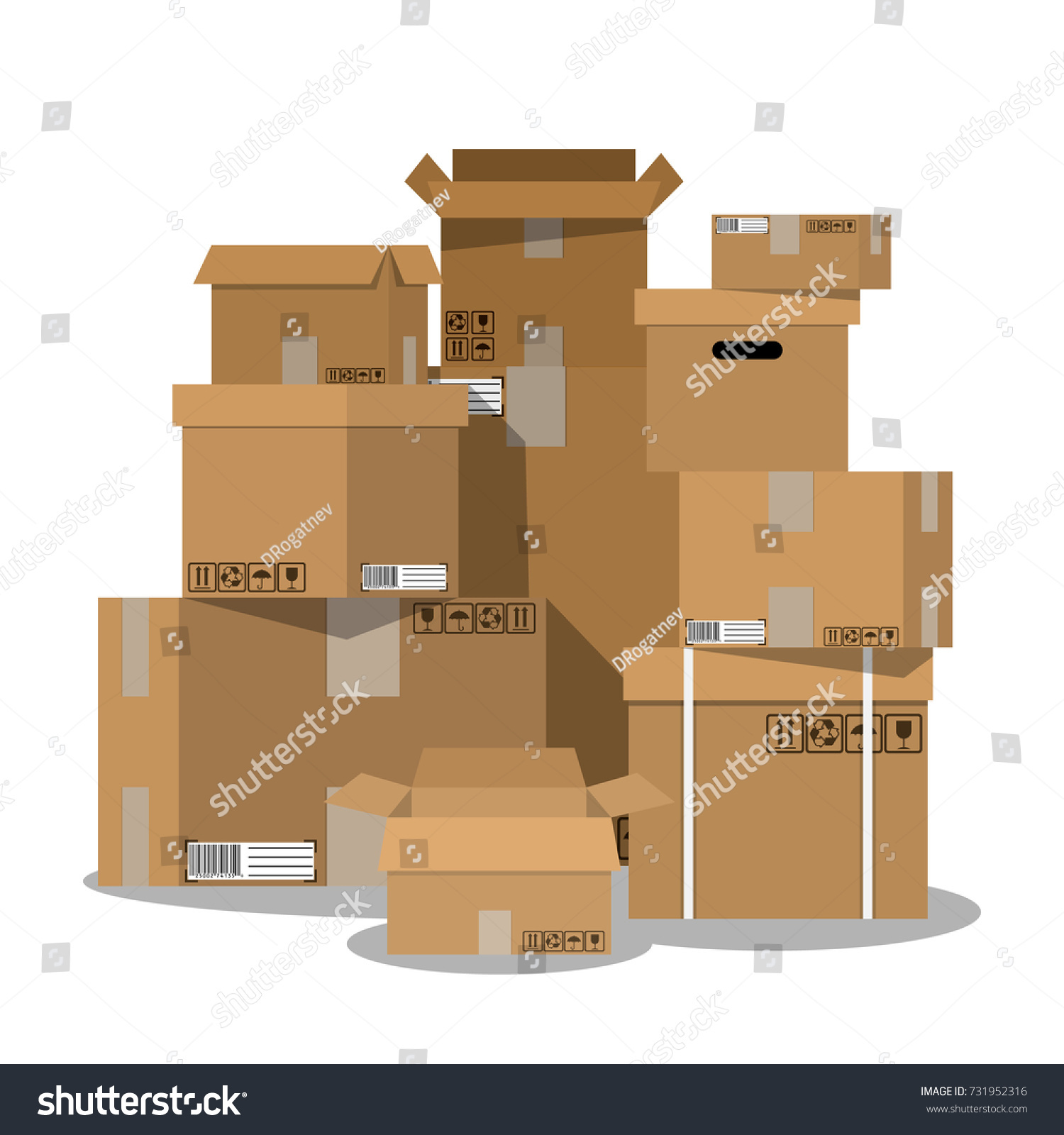 stacked cardboard boxes. pile of stacked sealed goods cardboard boxes vector illustration in flat style 0