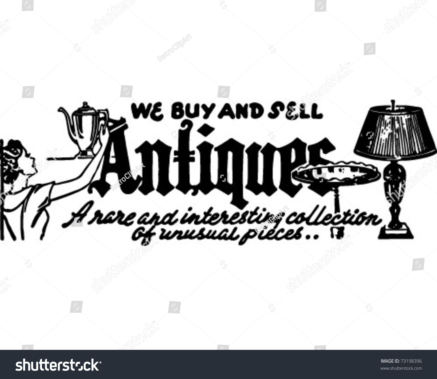 Antiques We Buy Sell Retro Ad Stock Vector (2018) 73198396 ...
