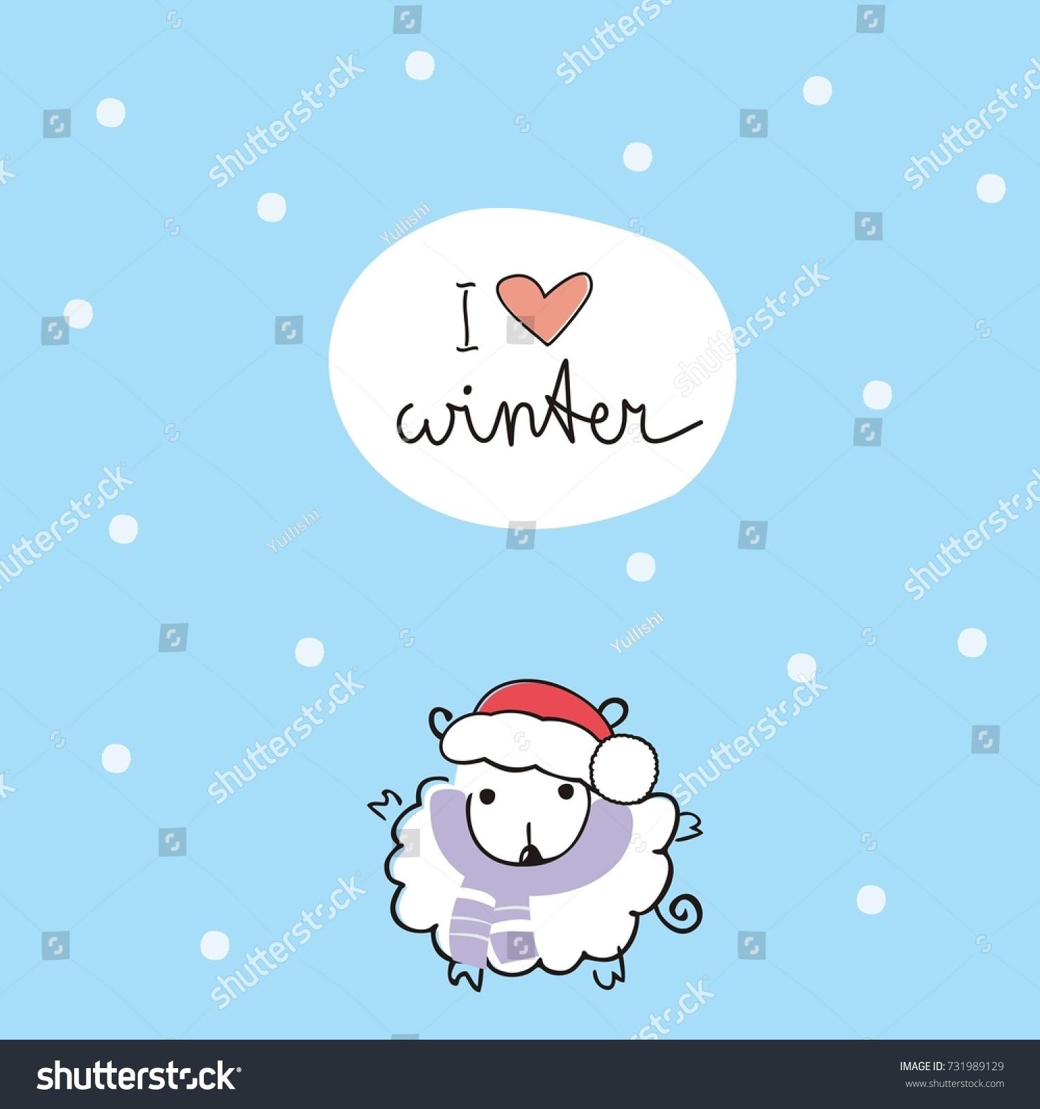 Winter Card Cute Sheep Cap Santa Stock Vector 2018